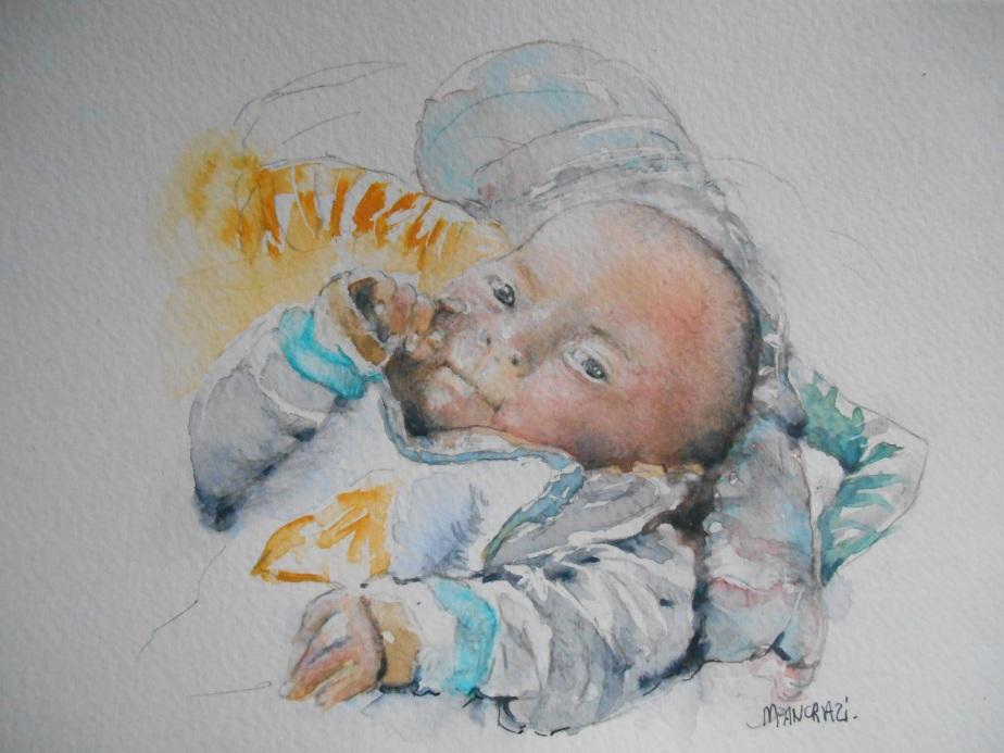 Bébé, Aquarelle 18x24
