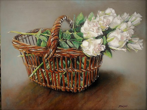 Roses Blanches au Panier 40x50; Huile