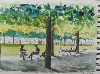 Jardin des Tuileries, à l'ombre!