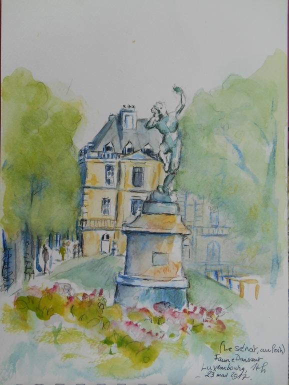 Jardin du Luxembourg, au loin le Sénat