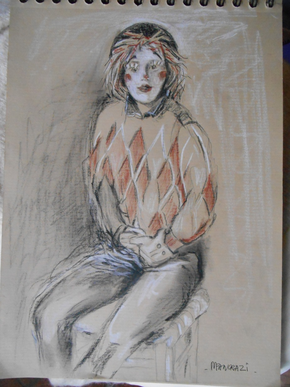 Clown Fille, 3 crayons