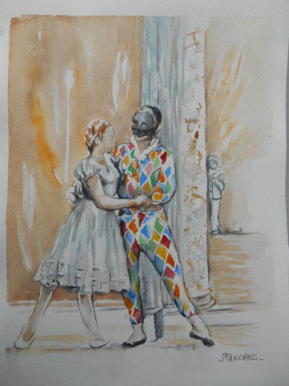 Colombine et Arlequin, septembre 2017; Aquarelle sur Papier 24x30