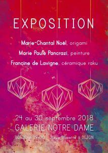 Exposition Galerie Notre Dame – 3 rue Musette Marie-Paule Pancrazi, Francine de Lavigne et ChantalNoël