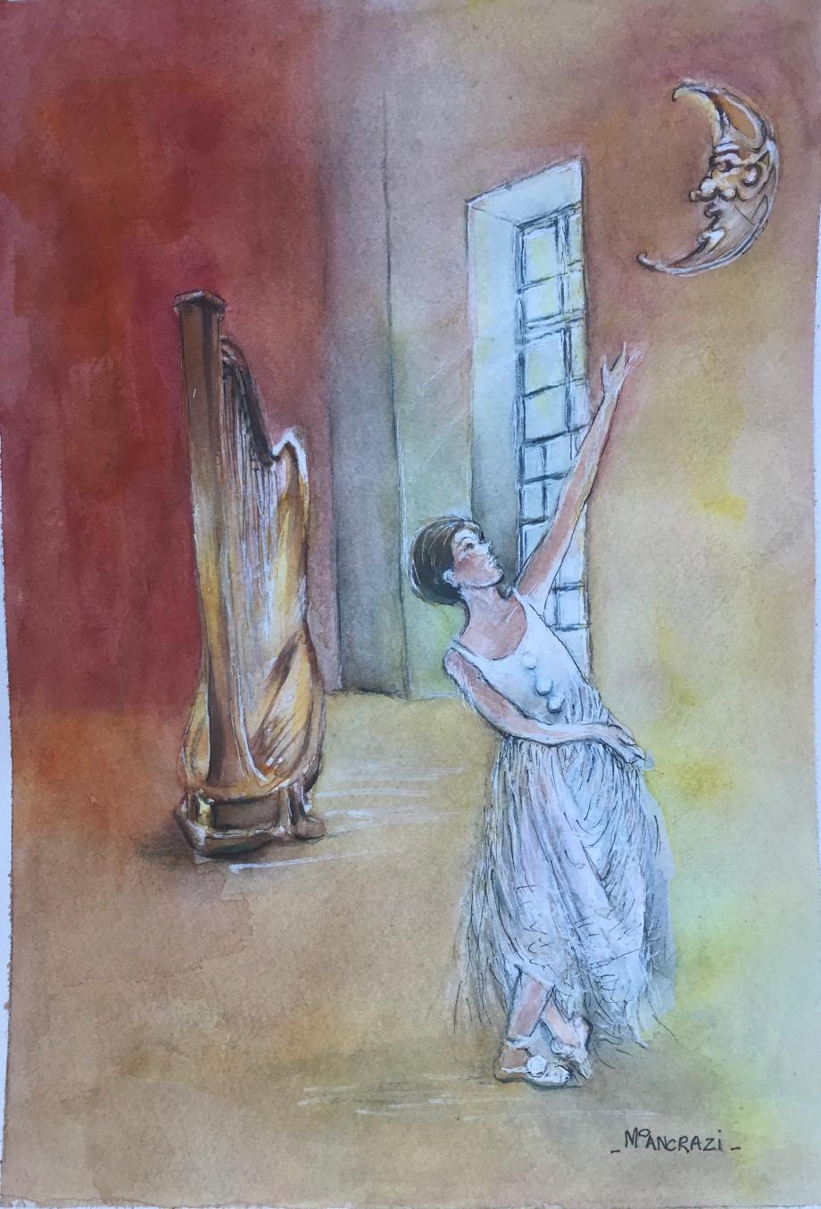 Colombine Danse sous la Lune; Aquarelle 24x32