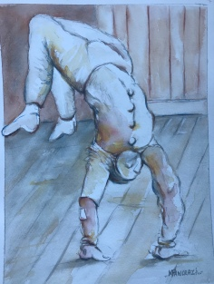 Pierrot Acrobate; Aquarelle 24x32