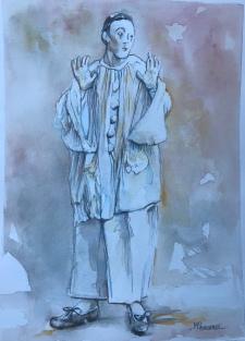 Pierrot Etonné; Aquarelle 24x32