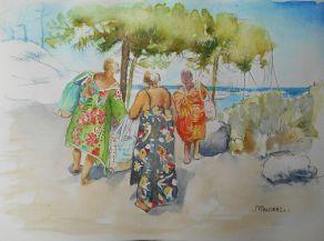 3 femmes, retour de plage; 2129,7