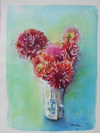 Bouquet dahlias rouges fond vert, Aquarelle 24x32