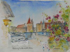 Châteauneuf-en-Auxois, Château et Roses Trémières, 24x30