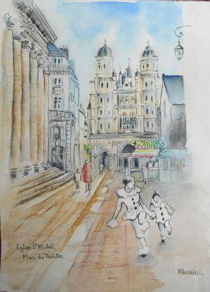 Dijon, Eglise St Michel, Place du Théâtre, Aquarelle 30x40