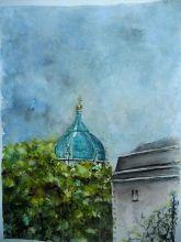 Dijon , Le Dôme Ste Anne; Aquarelle 30x40