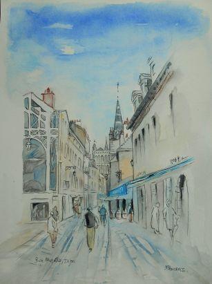 Dijon, Rue Musette, Aquarelle 30x40