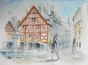 Dijon,Place du Bareuzai, Aquarelle 30x40