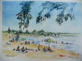 Etang du Fouché, la plage 30x40
