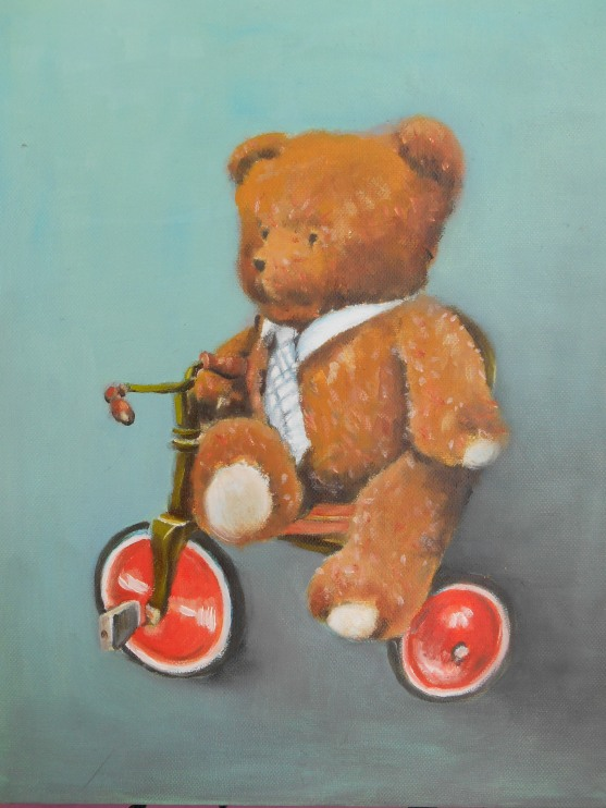 Nounours à tricycle, Huile 27x35