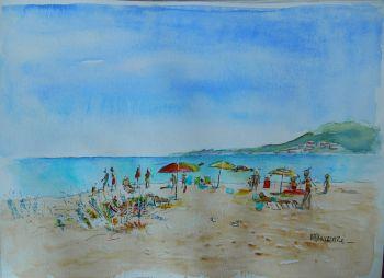 Plage, vue sur le Cap Corse au loin 21x29,7