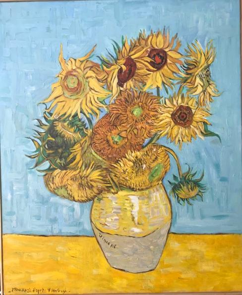 Tournesols d'après Van Gogh, huile 50x61