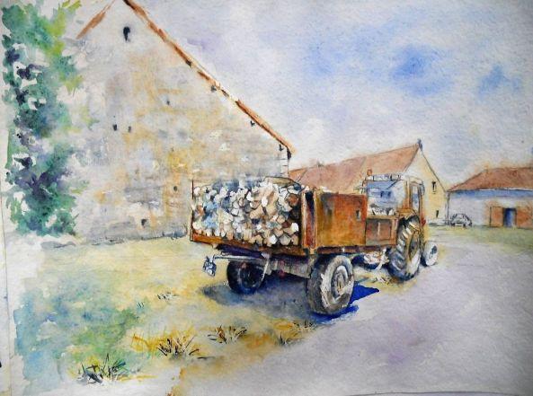 Tracteur chargé de bois, Aquarelle 42x55