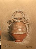 A Cheretta, Trois crayons sur papier brun ; 14,8x21