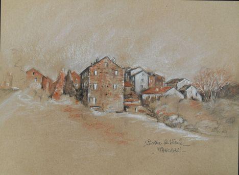 Pietra-di-Verde, Trois crayons sur papier brun, 21x29,7