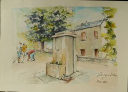 Piezza à l'Olmu, la vieille fontaine et les boulistes, Aquarelle 30x40