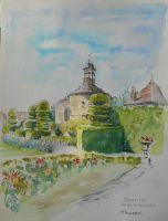 Pigeonnier XVI° et Topiaires, Abbaye de Labussière, Aquarelle 24x32