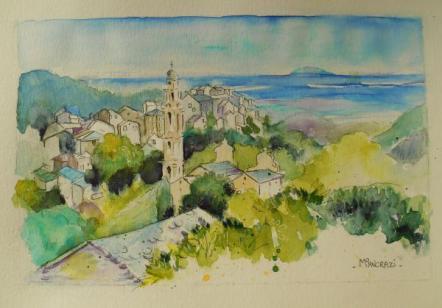 Pietra di Verde, la mer et Mt Cristo, Aquarelle 21x29,7