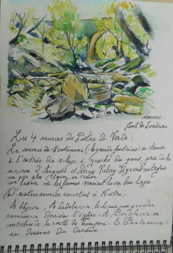 Pont de Londanu, Aquarelle 21x29,7 extrait Carnet de Voyage