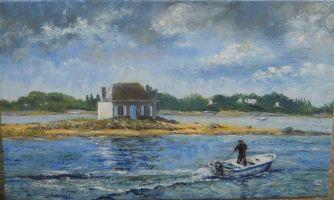 Saint-Cado, marine; huile33x55